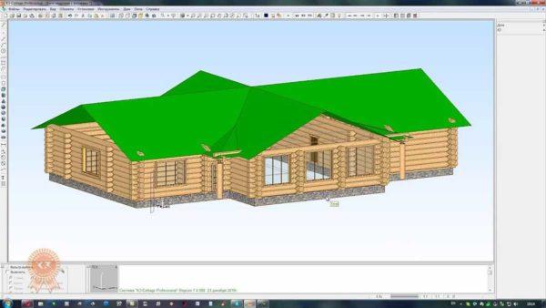 Даже такой немаленький дом из бревна программа для проектирования деревянных домов Коттедж рассчитает без труда