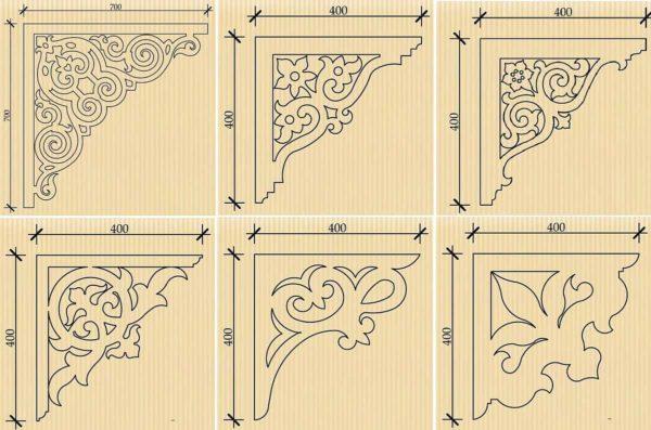 Схемы узоров для украшения кронштейнов