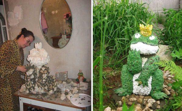 Как сделать садовые фигуры: лягушка из бетона и камней