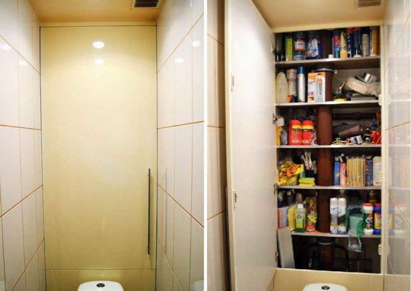 Пример оформления шкафчика за фальшстеной
