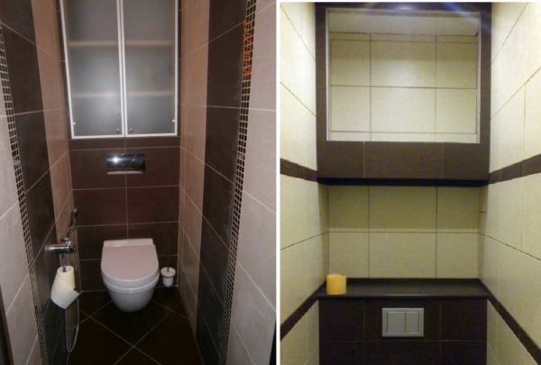 Матовое стекло и зеркало - тоже возможные варианты фасадов для шкафа в туалете