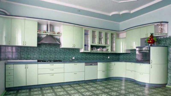 Кухня в зеленых тонах: монохромный вариант назвать скучным не получится
