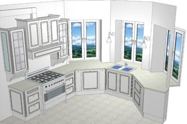 Планировка кухни с мойкой в эркере
