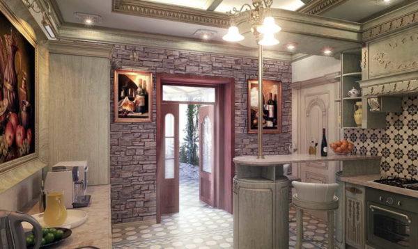 Если бы потолок был просто белым, была бы явная дисгармония - слишком перегруженные стены, и пустой потолок
