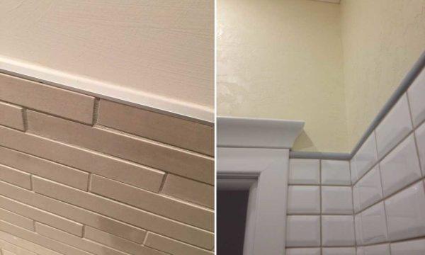 Если плитка лежит не до потолка, переход можно оформить при помощи молдинга