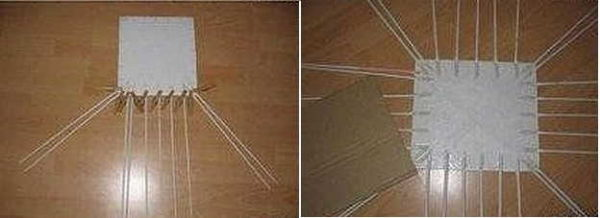 Дно из картона для плетения из газетных трубочек