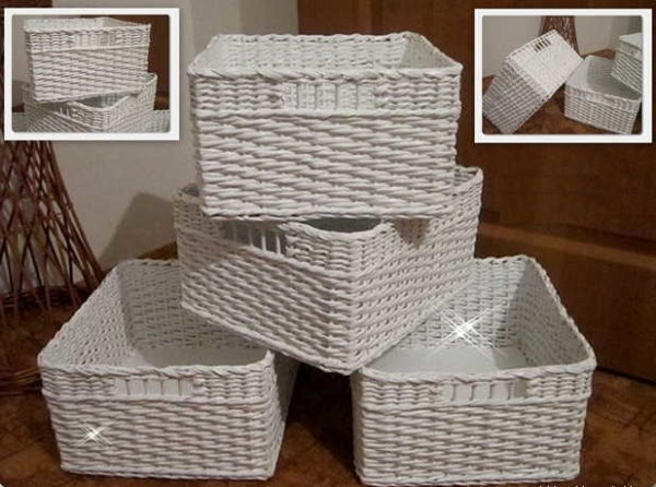 Серии одинаковых корзин из бумажных трубочек - функционально и красиво