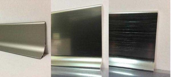 """Алюминиевый плинтус может быть разных цветов, """"металлические"""" цвета делают с разной степенью блеска"""