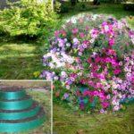 Не значил как сделать ярусную клумбу или грядку? Из пластиковой садовой ленты делаем кольца разного диаметра, заполняя грунтом складываем одно на другой