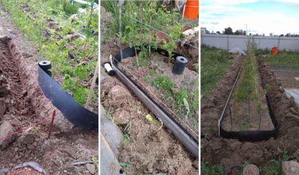 Устанавливать бордюрную ленту в предварительно вырытую канаву