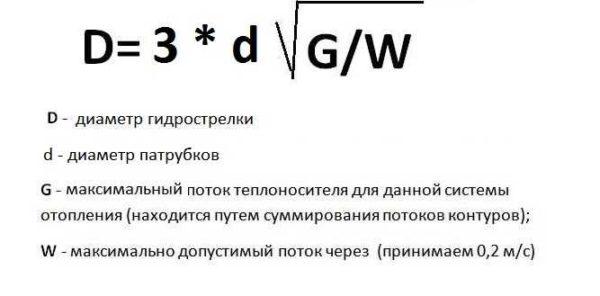 Формула расчета диаметра гидравлического разделителя для системы отопления в зависимости от максимального потока теплоносителя