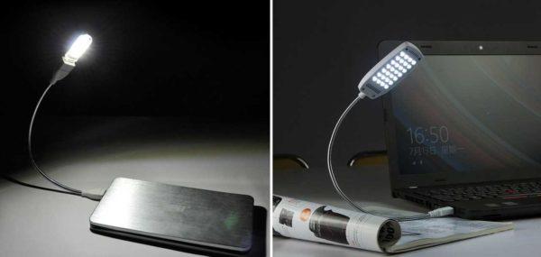 Подключить к ноутбуку можно небольшую ЛЭД лампу
