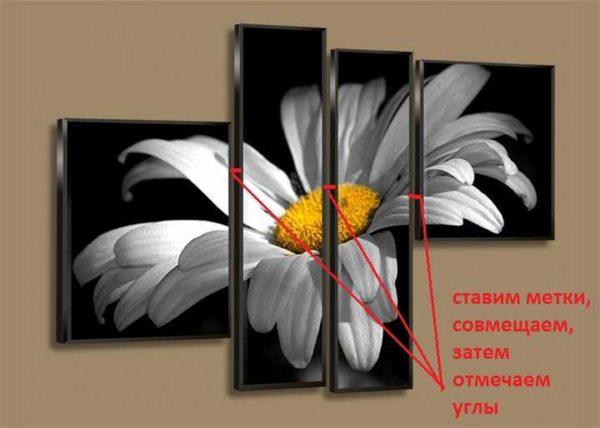 Разметка на стене под модульную картину