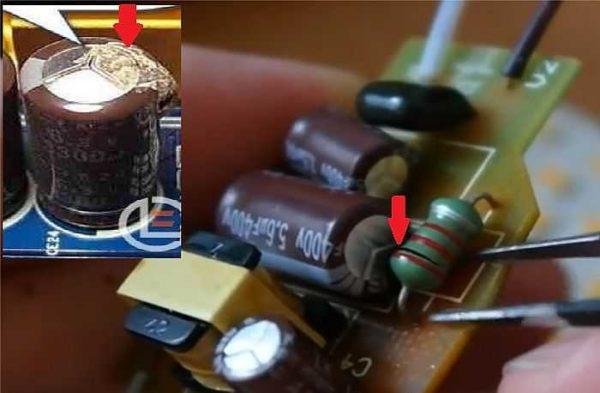 Могут быть сгоревшие сопротивления и потекшие/вздутые конденсаторы