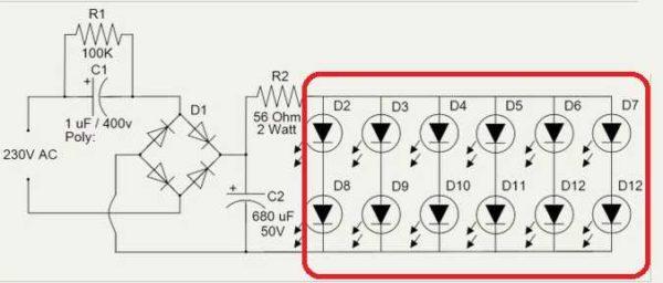 Схема светодиодной лампы на 220 V