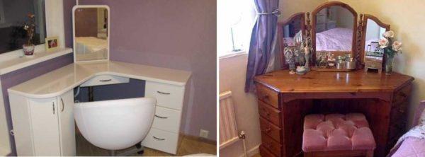 Туалетный столик с зеркалом с подсветкой углового типа между окном и кроватью