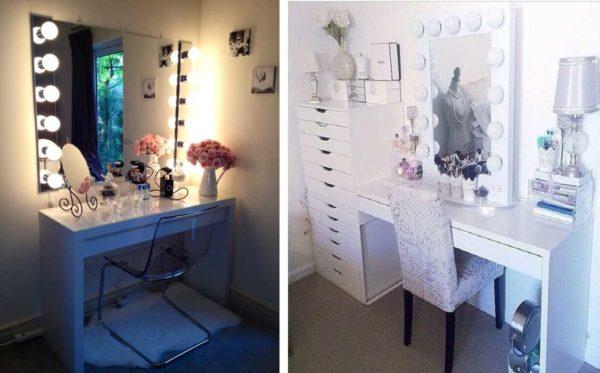 Подсветку зеркала для туалетного столика делают по бокам или по периметру