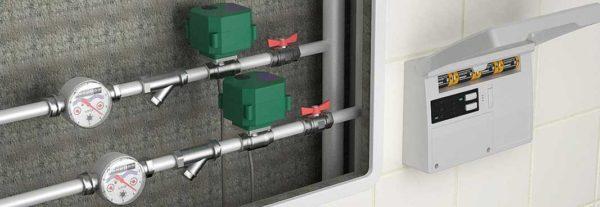 Защита от протечки воды состоит из трех компонентов: датчиков наличия воды, кранов с электроприводами и контроллера, который всем этим управляет