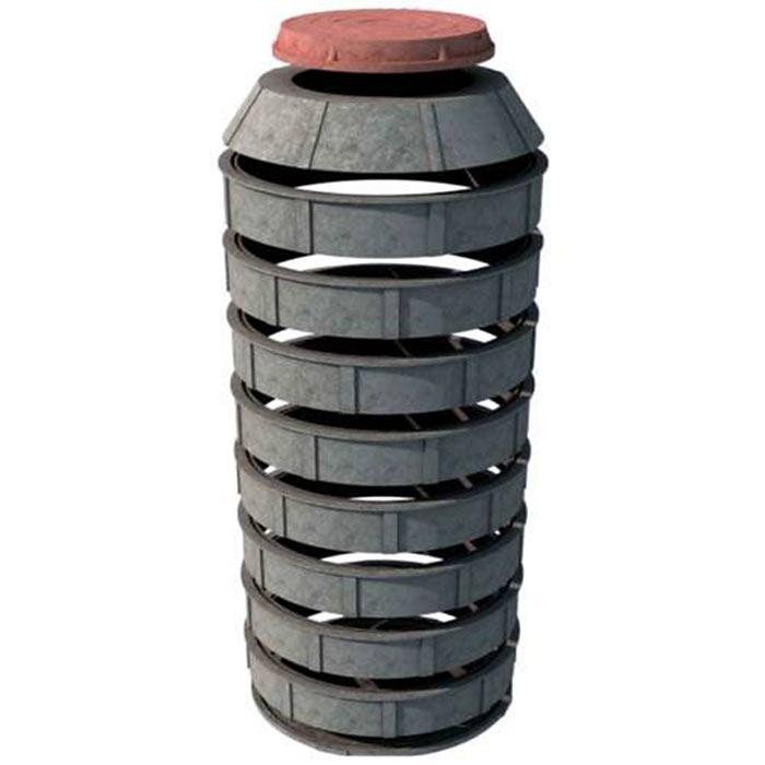 Принцип сборки герметичного пластикового колодца. Кроме колец, в комплект входят днище, конус и люк