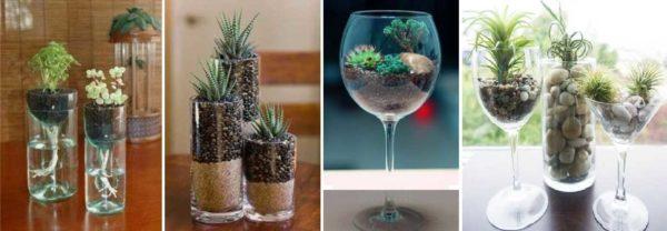 Стаканы, бокалы - оригинальные украшения из живых цветов для стола