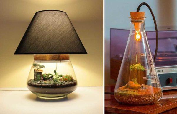 Сделать из флорариума лампу - сразу решается две проблемы: освещение и подсветка растений