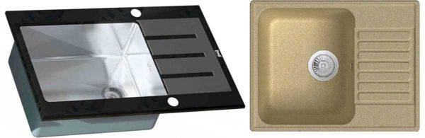 Каменная и стеклянная (со стеклянной поверхностью) раковины на кухню - более современный выбор