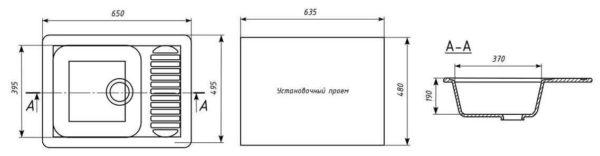 Установочный проем кухонной раковины должен быть меньше либо равен размерам каркаса