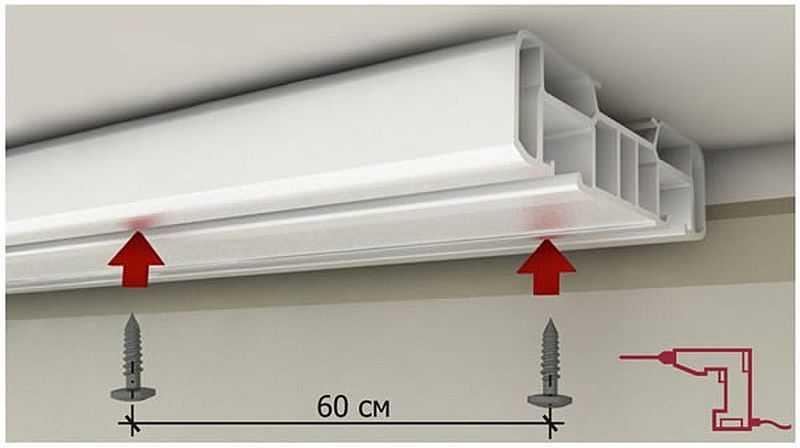 Шаг установки крепежа для потолочного карниза
