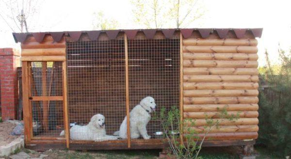Стены собачьего вольера можно сделать из имитации бруса. Но часть, обращенную внутрь тоже надо обработать (отфуговать)