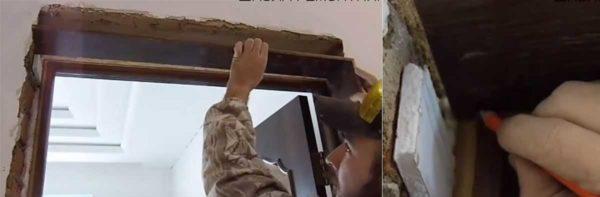 Как крепить дверной наличник