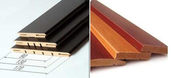 Виды доборов для межкомнатных дверей: телескопические слева, обычные - справа