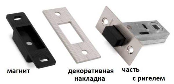 Врезная магнитная защелка для межкомнатных дверей с ручкой и самой легкой установкой