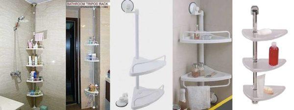 Угловые полки в ванную на штанге