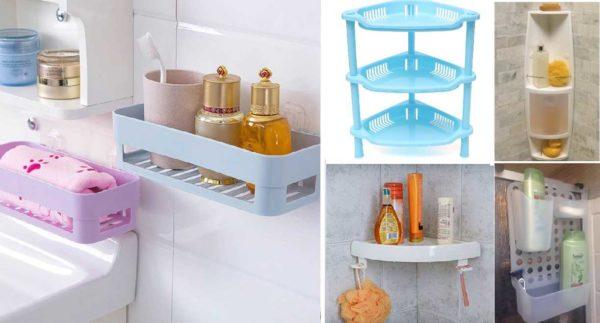 Полки для ванной комнаты из пластмассы могут быть разной формы и способа монтажа