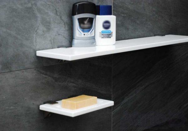 Полки для ванной комнаты из искусственного камня. Цвет можно подобрать по желанию, как и размеры и форму