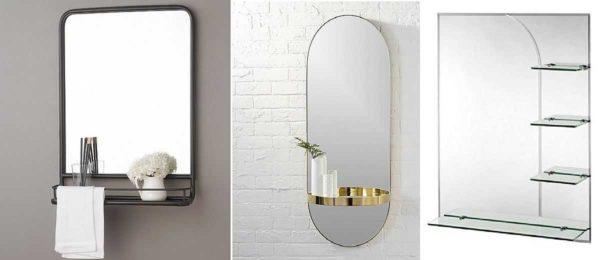 Варианты бескорпусных зеркальных полок в ванную комнату
