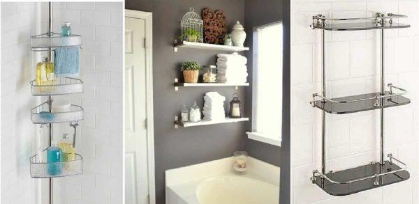 Настенная полка в ванную комнату - разные конструкции, различные материалы