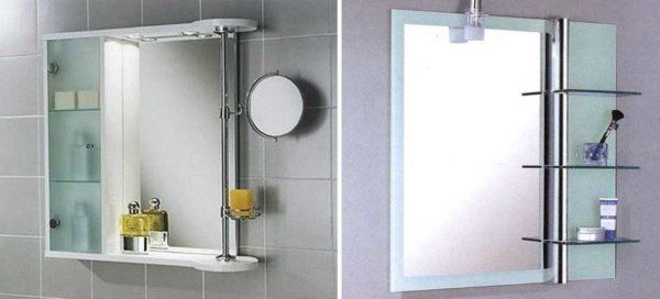 Полки для ванной комнаты с зеркалом: с основой и без нее