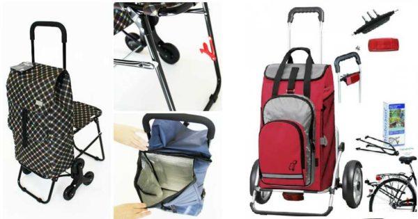Особые виды сумки-тележки: с откидным стульчиком и для велосипедов