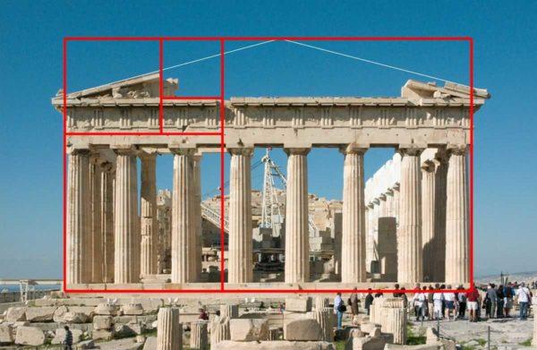 Сохранившиеся постройки древности тоже подчинены правилу золотого сечения