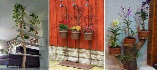 Ствол дерева и водопроводные трубы - тоже могут быть основой для напольной подставки под цветы