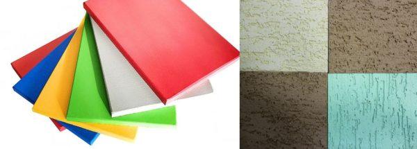 Окрашенный в заводских условиях плоский шифер может быть глянцевым или матовым. Для отделки фасадов стали делать покрытие из фактурной штукатурки