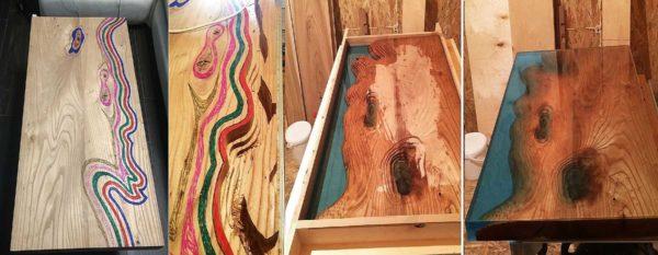 Такой вот стол из эпоксидной смолы своими руками сделан из двух досок карагача (вяза)