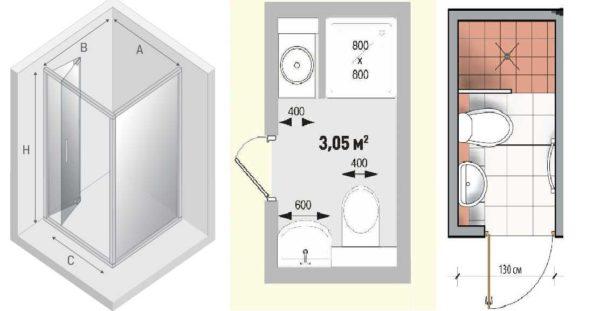 Размеры квадратных душевых кабин