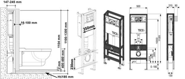 Глубина инсталляции для унитаза - не более 250 мм