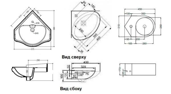 Размеры угловых раковин для ванной