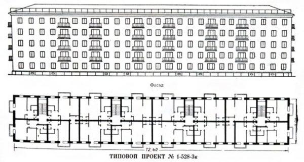 длина пятиэтажки с 4 подъездами