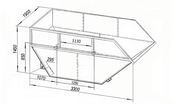 чертёж бункера на 8 м куб