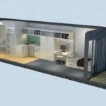 планировка контейнерного дома в 40 футов