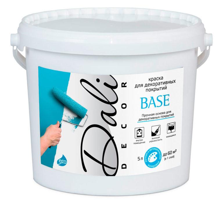 Краска для декоративных покрытий DALI-DECOR BASE. Назначение: качественная подготовка поверхности к последующему нанесению декоративных покрытий Dali-Decor защитно-декоративная финишная обработка декоративных покрытий Dali-Decor